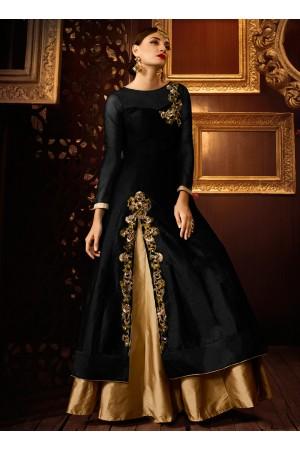 Black color taffeta silk party wear lehenga style anarkali suit