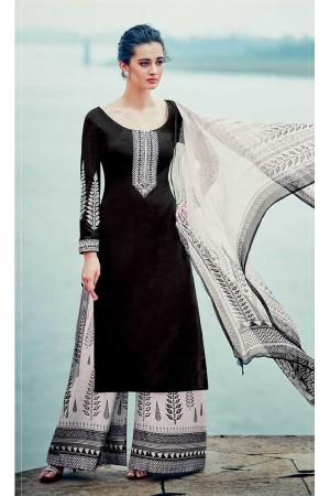 Black and white color cotton palazzo salwar kameez