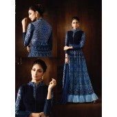 Blue color georgette and net party wear anarkali