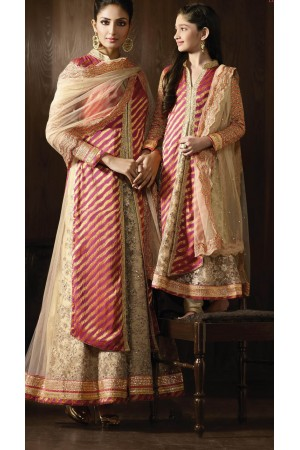 Cream and pink color party wear anarkali kameez