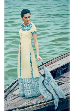 Cream and blue color cotton palazzo salwar kameez