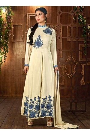 Mouni Roy Cream color georgette party wear anarkali suit