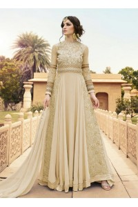 Cream color georgette party wear anarkali
