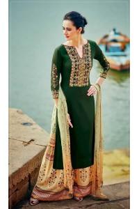 Green and yellow color cotton palazzo salwar kameez
