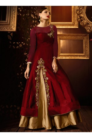 Maroon color taffeta silk party wear lehenga