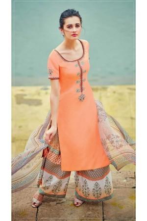Orange color cotton palazzo salwar kameez