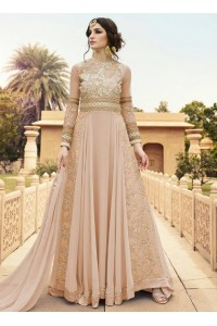 Peach color georgette party wear anarkali