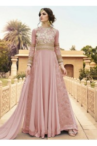 Pink color georgette party wear anarkali