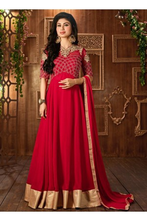 Mouni Roy Red color georgette party wear anarkali suit