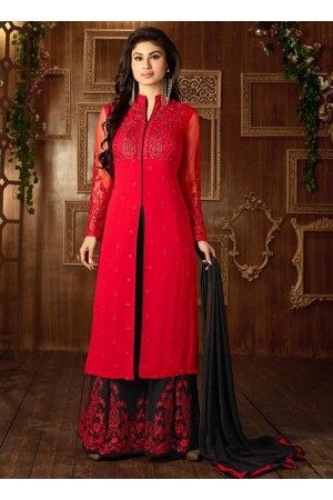 Mouni Roy Red and blackcolor georgette party wear anarkali suit