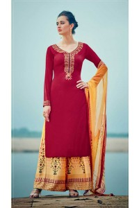 Red and yellow color cotton palazzo salwar kameez
