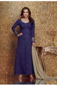 Dia mirza blue color georgette designer party wear suit