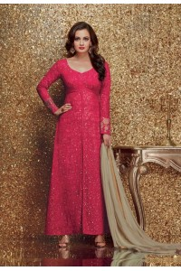 Dia mirza pink color georgette designer party wear suit