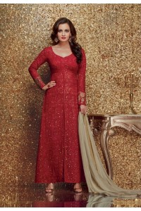 Dia mirza red color georgette designer party wear suit