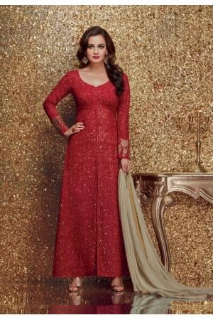 Dia mirza red color georgette designer party wear suit