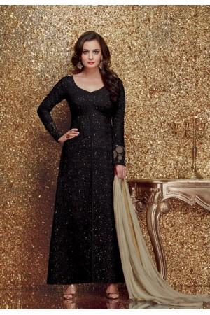 Dia mirza black color georgette designer party wear suit