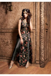 Black color silk designer party wear suit