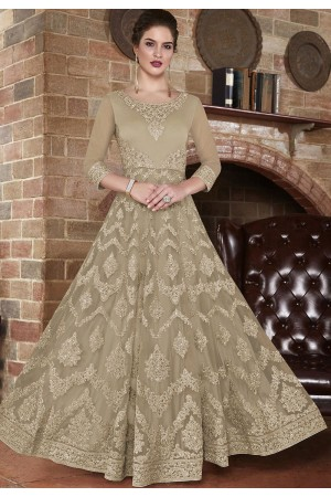 Beige net Indian wedding wear anarkali suit 4503
