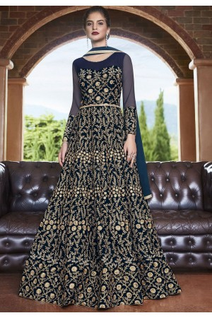 Blue net Indian wedding wear anarkali suit 4504
