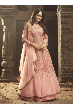 Blush pink Indian hand work net wedding wear anarkali suit 56003