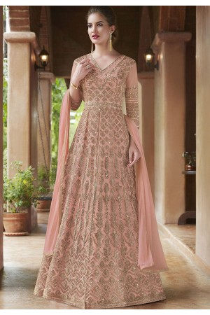 Blush pink net Indian wedding wear anarkali suit 4500