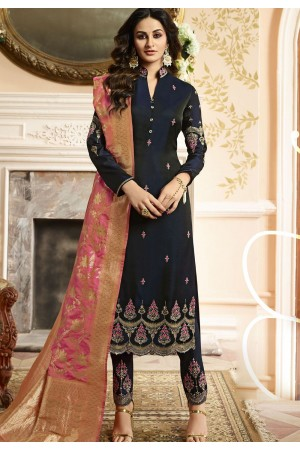 Indian silk Wedding salwar kameez in blue color 15203