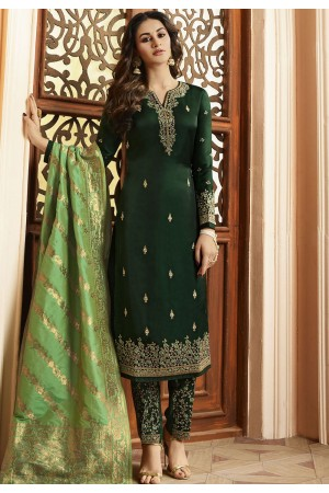 Indian silk Wedding salwar kameez in green color 15202
