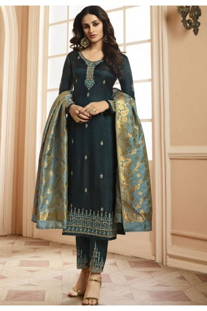 Indian silk Wedding salwar kameez in grey color 15205
