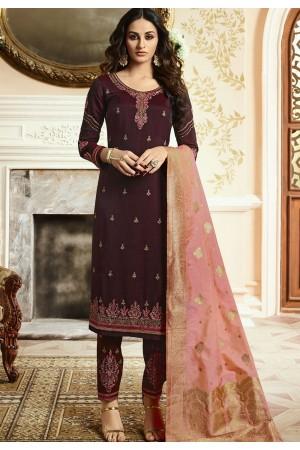 Indian silk Wedding salwar kameez in wine color 15201
