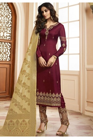 Indian silk Wedding salwar kameez in wine color 15204