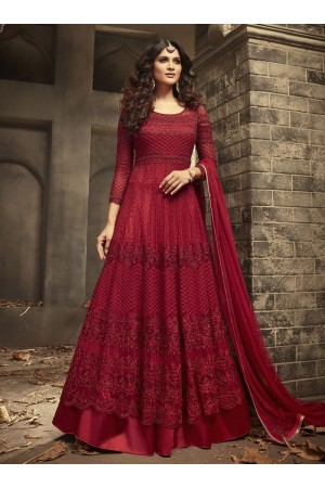 Maroon Indian hand work net wedding wear anarkali suit 56001