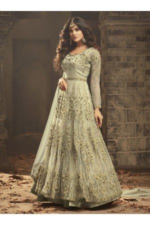 Mild green Indian hand work net wedding wear anarkali suit 56002