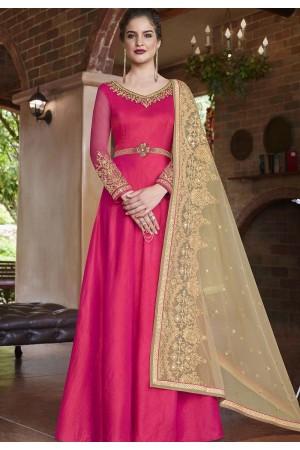 Rani banarasi silk Indian wedding wear anarkali suit 4507