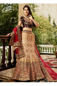 Cream red and wine color wedding lehenga choli