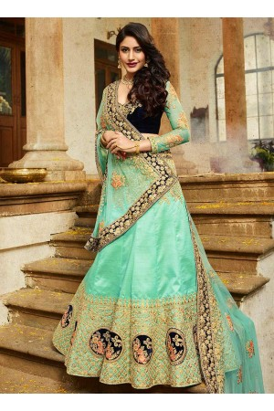 Firozi silk velvet and net wedding lehenga choli