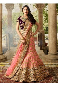 Pink color silk velvet and net wedding lehenga choli