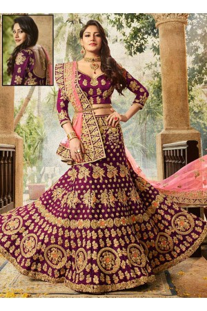 Purple color silk velvet and net wedding lehenga choli