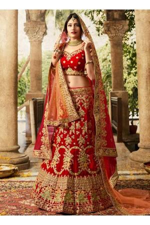 Red color silk velvet and net wedding lehenga choli