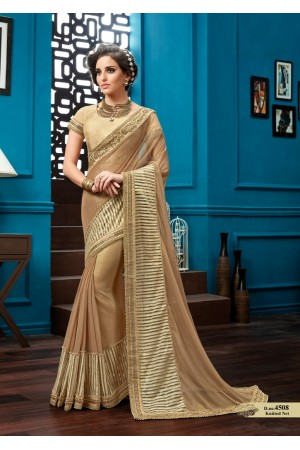 Beige knitted net wedding wear saree