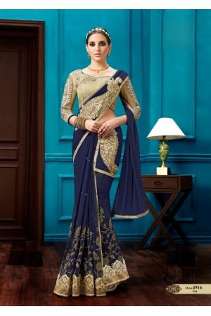 Navy blue net wedding wear saree