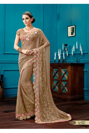 Beige silk chiffon wedding wear saree