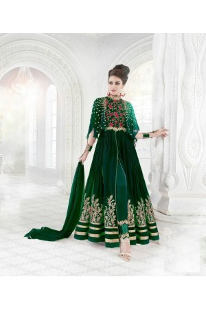 Green color georgette wedding wear anarkali