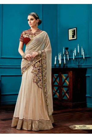 White and maroon color knitted georgette and net wedding lehenga saree