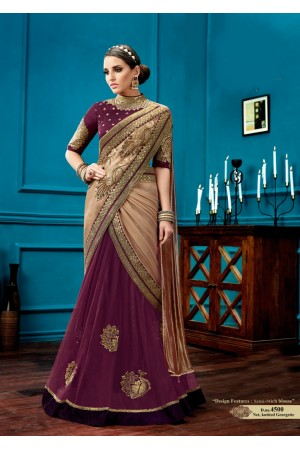 Gold and wine knitted georgette wedding wear saree