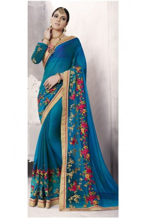 Party-wear-cyan-blue-color-saree