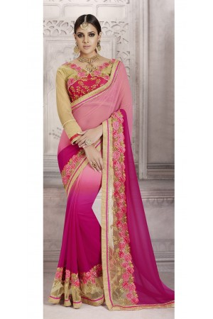 Party-wear-pink-peach-color-saree