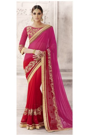 Party-wear-pink-red-color-saree