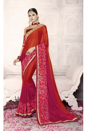 Party-wear-red-maroon-color-saree