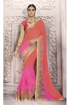 Party-wear-red-pink-color-saree