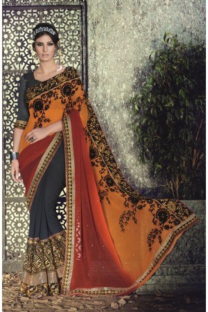 Party-wear-Brown-Orange-Charcoal-color-saree
